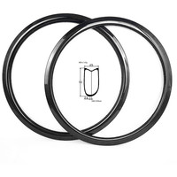 700c road disc rims 50x25mm tubular Asymmetre tape rim 400g disc road bike rims carbon bicycle rim