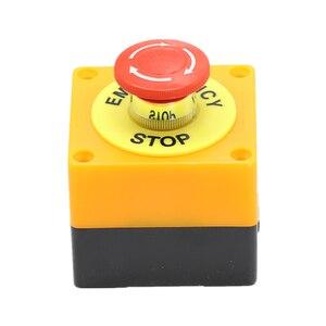 Image 2 - 1PCS พลาสติกสีแดงป้ายสวิทช์ปุ่มกด DPST เห็ดปุ่มหยุดฉุกเฉิน AC 660V 10A ไม่มี + NC LAY37 11ZS
