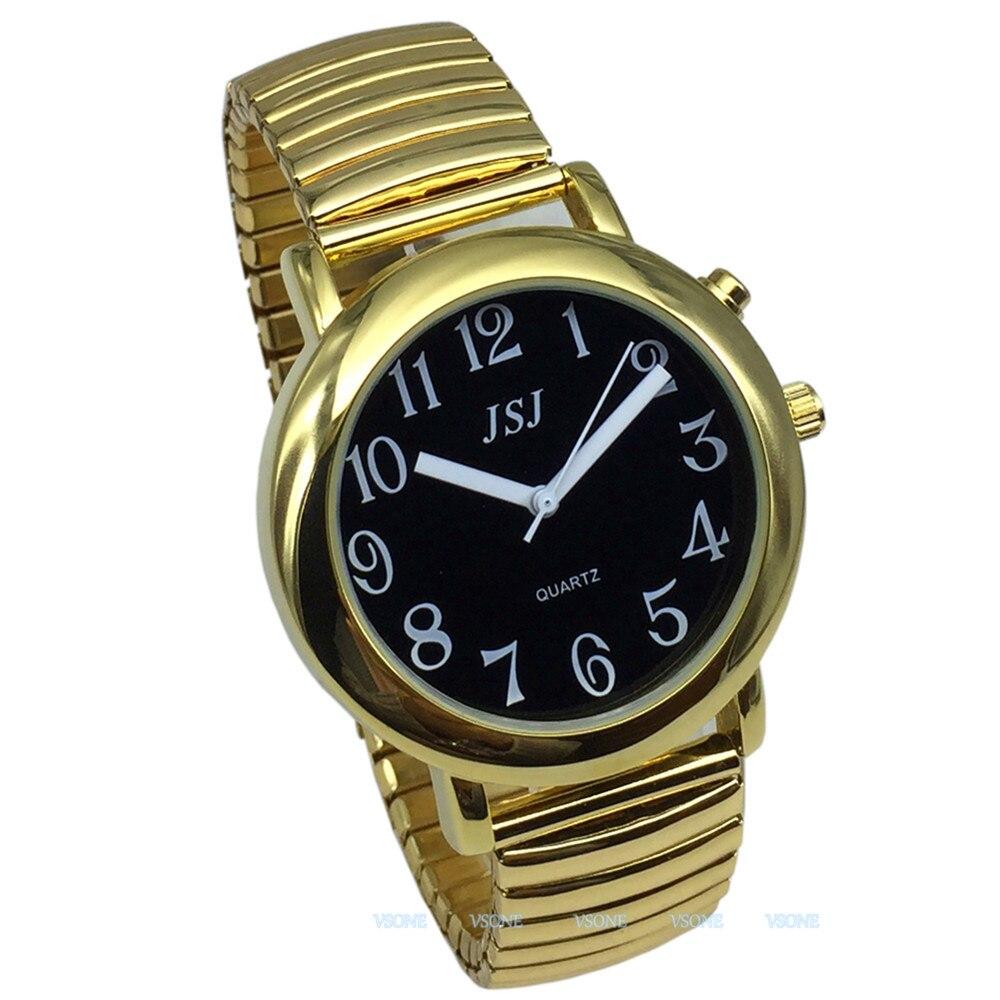 Говорящие на английском языке часы с будильником, говорящая Дата и время, черный циферблат, расширяющийся браслет-602