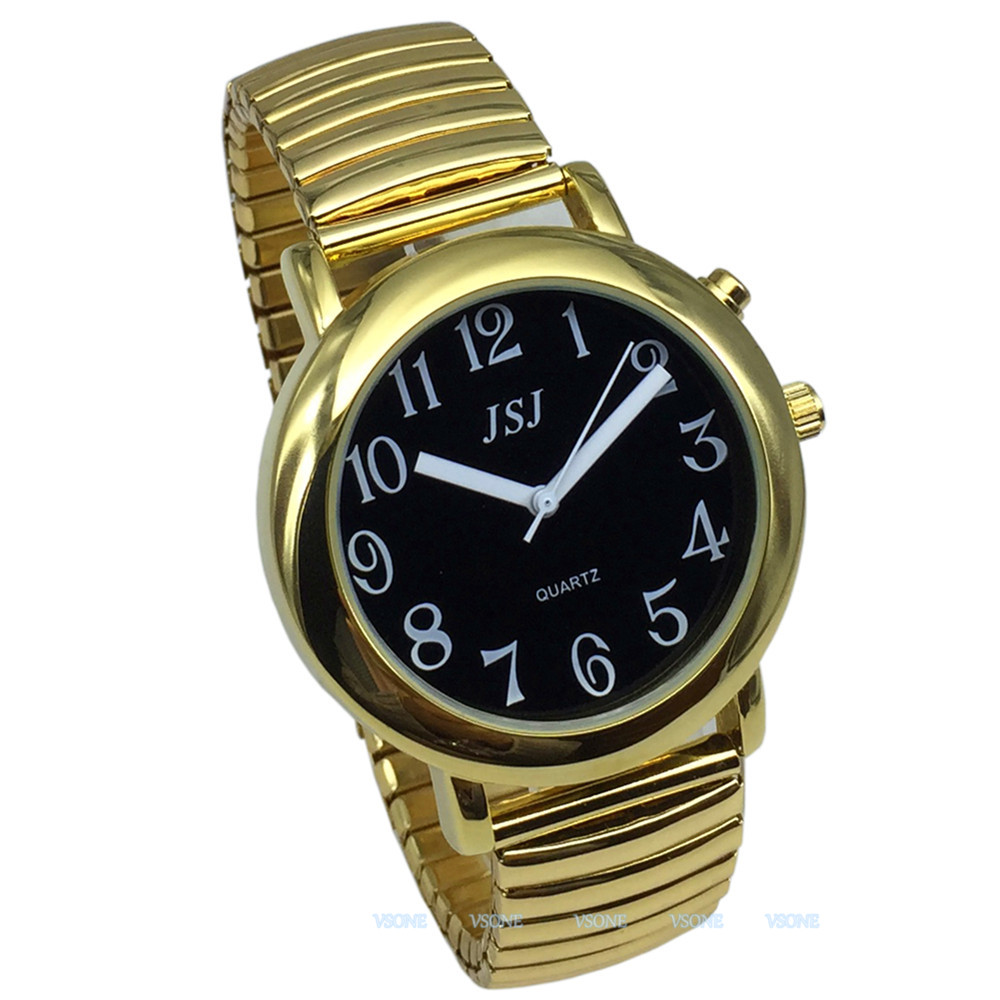 English Talking Watch With Alarm, Talking Date And Time, Black Dial, Expanding Bracelet TAG-602