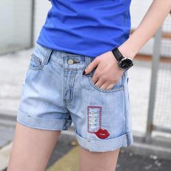 2020 new high quality denim shorts female hole embroidery wide-leg pants loose large size denim shorts