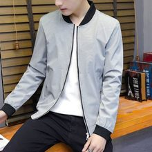 Mannen Koreaanse Fashion Slim Fit Bomber Jassen Rits Stand Kraag Lange Mouwen Man Plus Size 5XL Jacket Jassen 2020 Herfst kleding(China)