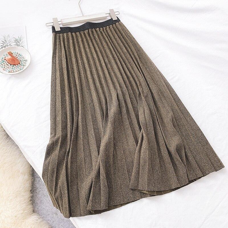 Sherhure 2019 Shining Autumn High Waist A-Line Pleated Long Skirt High Quality Women Winter Warm Skirt Faldas Jupe Femme Saia