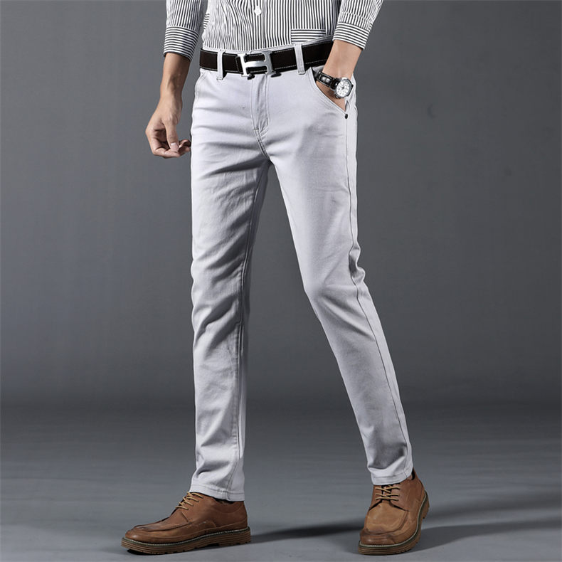 Classic 6 Color Casual Pants Men Spring Autumn New Business Fashion Comfortable Stretch Cotton Elastic Straigh Jeans Trousers 4