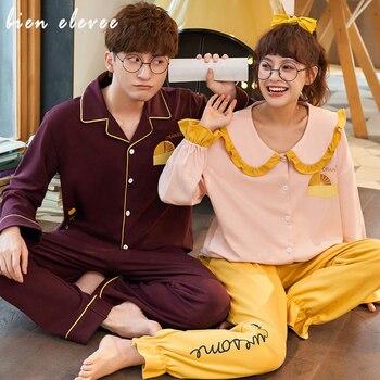 Cartoon Print Couple Pajamas Set Fashion Lover Sleepwear Autumn Cotton Women And Men Pyjamas Long Sleeve Sleepwear Lounge Pajama cartoon eye print tee and shorts pajama set