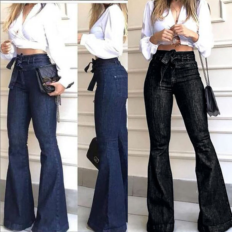 Women High Waist Skinny Jeans For Women Street Style Blue Sexy Vintage Womens Flared Pants Bottom Bell Autumn Jeans