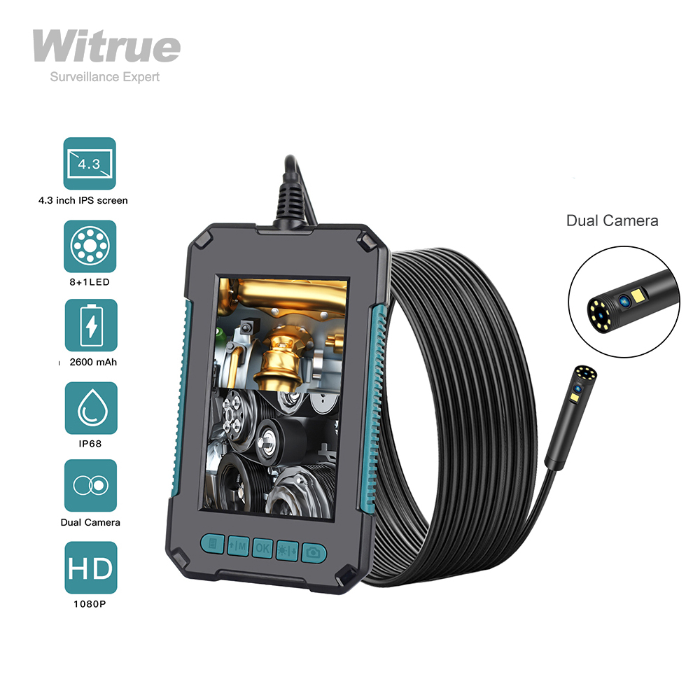 """8mm Endoscope Camera LED Night Vision  IP67 Waterproof  4.3"""" HD Screen  Pipe Inspection Camera Hard Cable Endoscope for Cars"""