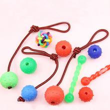 dog toy ball pet toy bite resistant sound making elastic ball large dogs molar golden retriever teddy tooth cleaning training ba Pet Molar Toy Dog Chew Rubber Ball With Rope Bite Resistant Solid Elastic Ball Dogs Interactive Training Toys Puppy Biting Balls