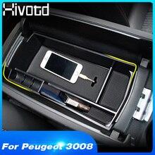 Hivotd for peugeot 3008 3008GT 5008 2017 2018 2019 Car armrest box storage Central Console Storage Box Interior Accessories