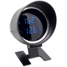 12V/24V LCD Digital Water Temp Gauge + voltmeter for car Meter with 10mm water temperature Sensor motorcycle instrument from RU