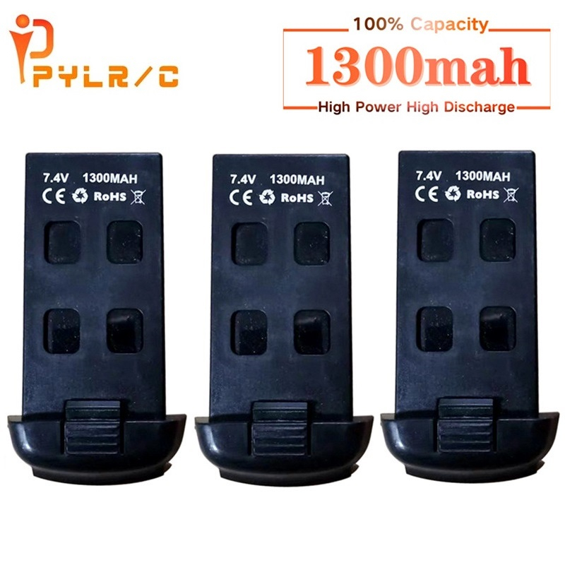 Аккумулятор PYLR/C 1/2/3/5 шт. для радиоуправляемого дрона, батарея для S167, S166, 7,4 В, 1300 мАч, литий-полимерная батарея, перезаряжаемая батарея для ра...