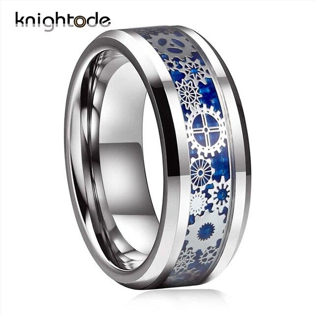 الرجال النساء الزفاف الفرقة الميكانيكية والعتاد عجلة التنغستن الصلب حلقة مشطوف الحواف مع ألياف الكربون الأزرق ترصيع المجوهرات الاصبع