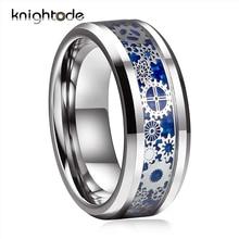 Anillo de acero de tungsteno con bordes biselados para hombre y mujer, banda de boda, rueda de engranaje mecánico, con incrustaciones de fibra de carbono azul, joyería para dedos