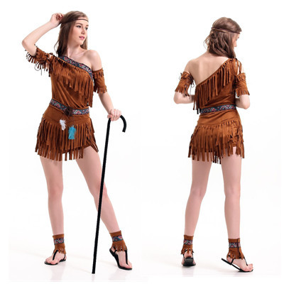 Halloween Clothing Egypt Cleopatra The Primitive Indigenous Service Tassels Indian Tribe Princess Skirt Stage Costume
