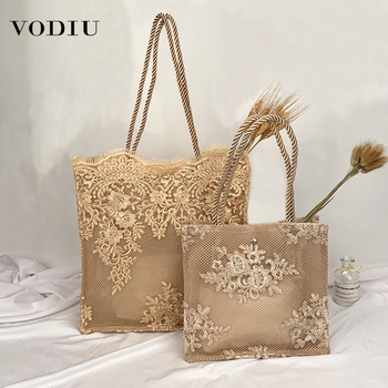 2020 Big Fashion Shoulder Bag Women's Handbags Casual Totes Embroidered Hollow Vintage Designer Straw Beach Ladies Lace New Bags