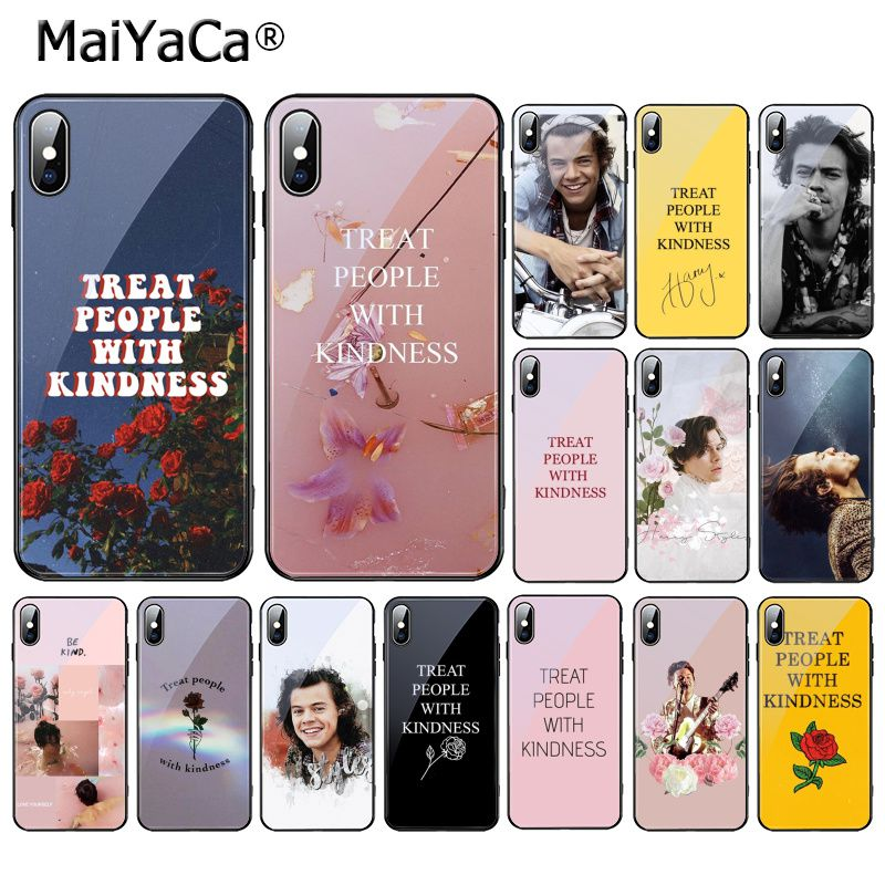 MaiYaCa Harry Styles Treat people with kindness Tempered Glass Phone <font><b>Case</b></font> For <font><b>iPhone</b></font> 11 Pro XR XS MAX 8 X 7 6S 6 Plus image