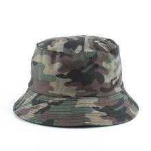 Camouflage Print Reversible Bucket Hat Men Fisherman Outdoor Travel Sun For Women Streetwear Hip Hop Cap