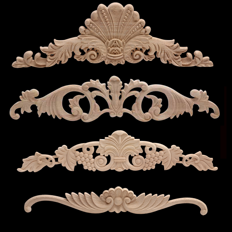 Antique Ornamental Natural Long Floral Large Wooden Furniture Doors Cabinet Wood Applique Onlay Wood Decal  Wood Figurines NEW