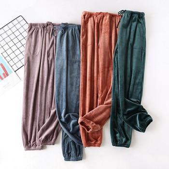 цена Autumn and winter new couple velvet trousers warm men pants thick warm pants home pants women pajama pants flannel lounge pants онлайн в 2017 году