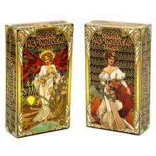 Golden Art Nouveau Tarot Deck 78 Cards with Guidebook Cards Occult Divination Book Sets for Beginners Box Major and Minor