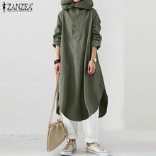 ZANZEA 2021 femmes mode automne sweats à capuche Sundress à capuche à manches longues chemise Robe boutons Vestidos Femme caftan Robe grande taille