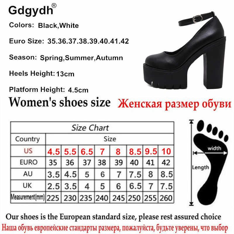 Gdgydh 2019 mùa xuân mới thu Giày cao cấp-giày gợi cảm ruslana korshunova dày gót nền tảng máy bơm Đen Trắng Size 42