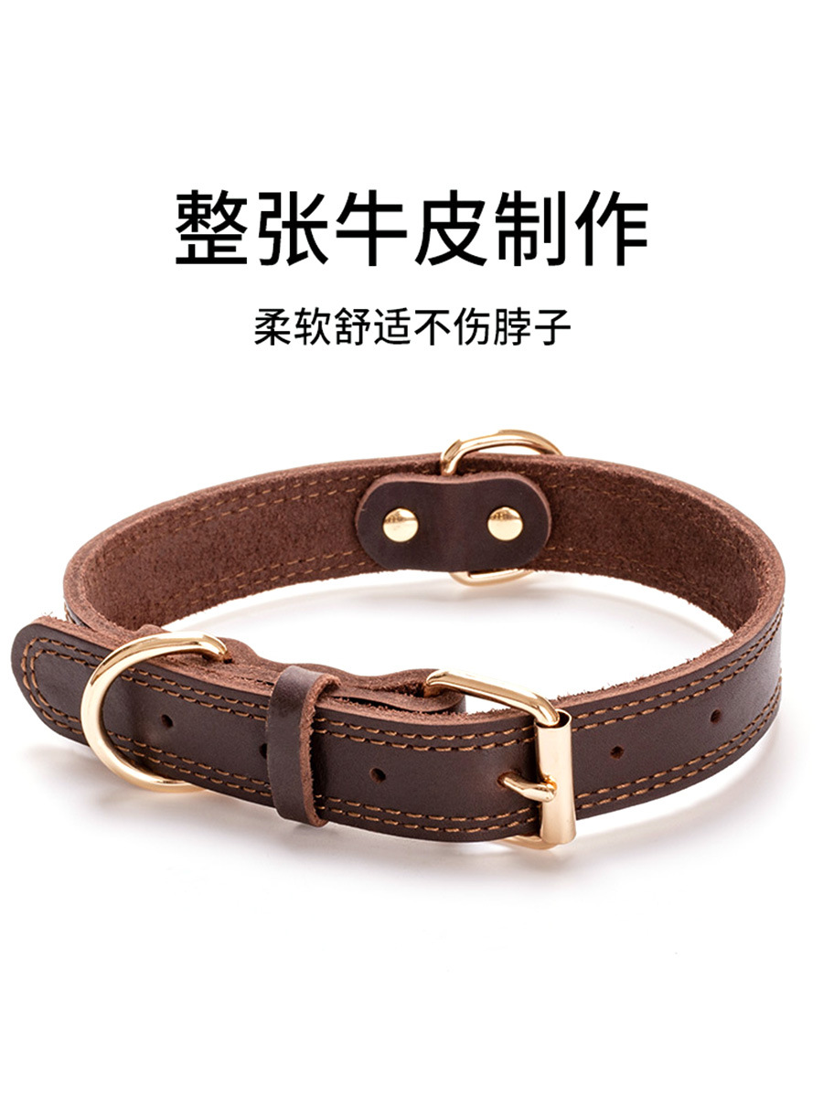 Cowhide Dog Neck Ring Lettering Dog Tag Genuine Leather Collar Golden Retriever Collar And Medium-sized Dog Pet Labrador Bandana