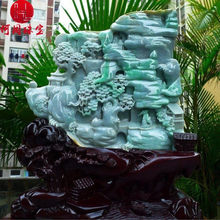 Hezhou jewelry!Myanmar natural jade!Landscape hand carved decoration!Living room desk accessories9.15(China)