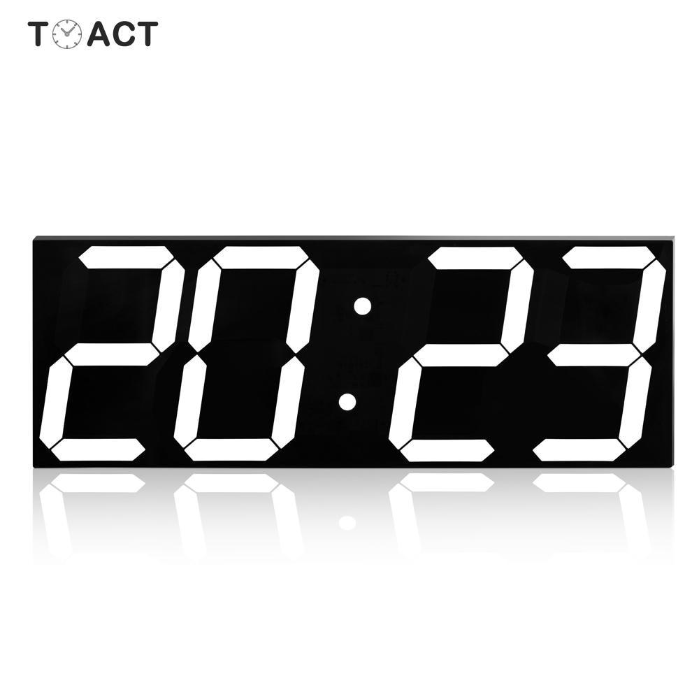 Horloge à affichage grand nombre, horloge à mur LED numérique, réticules modernes, affichage de la maison, cuisine, bureau de la nuit, montre électronique à mur, lumière du réveil - 1