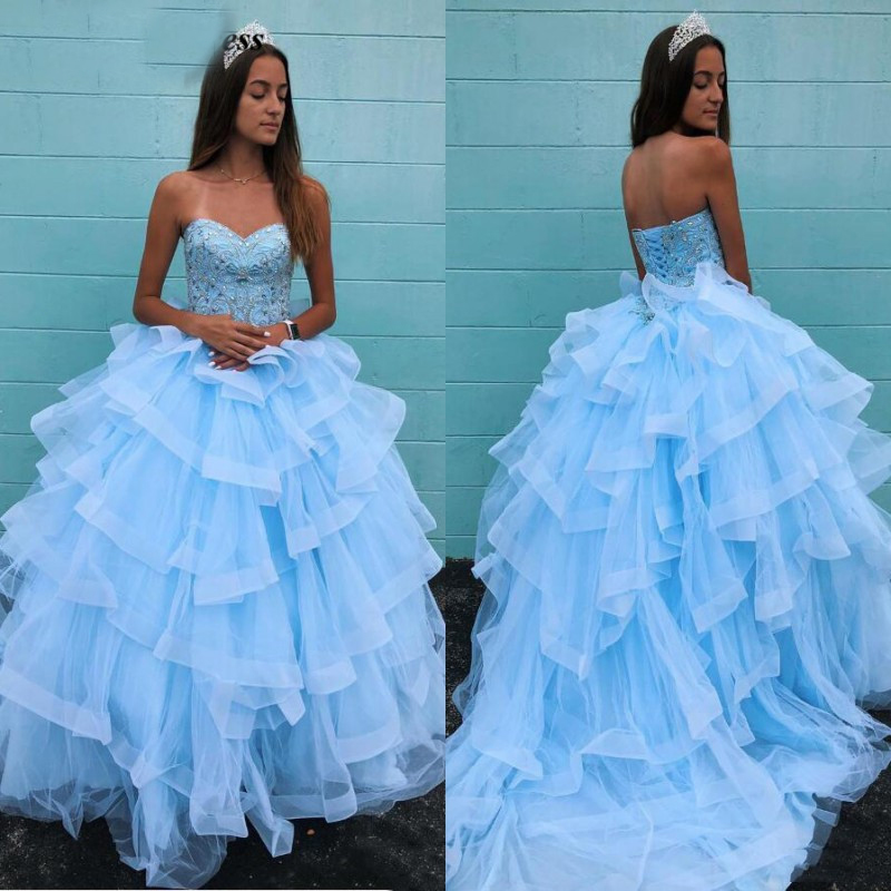 Luxury Sky Blue Ball Gowns Quinceanera Dresses Sweetheart Beaded Rhinestones Lace-up Tiered Skirt Sweet 16 Prom Party Gowns