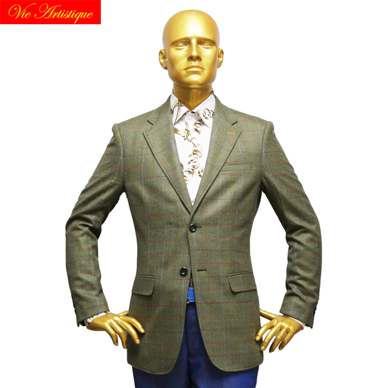 Custom Tailor Made Men's Bespoke Suits Business Formal Wedding Ware Bespoke Jacket Coat Tweed Wool Slim Fit Olive Window Plaid