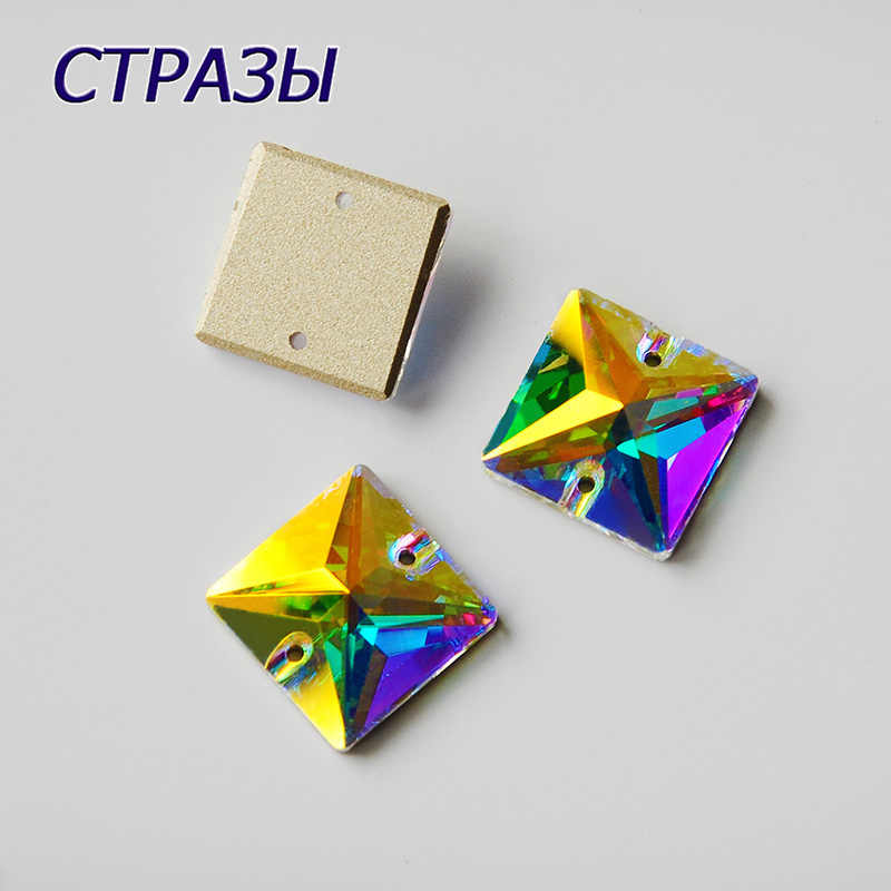 CTPA3bI 3240 AB Color Square Shape Crystal Crafts Strass Rhinestones Glass Beads For Jewelry Making Charming Needlework Decorate