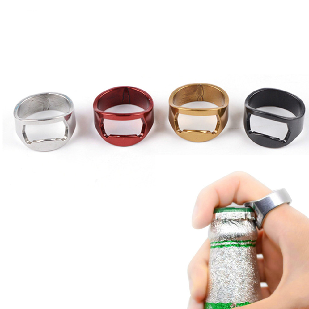 1pcs 22mm Mini Bottle Opener Stainless Steel Finger Ring Ring-shape Bottle Beer Cap Opening Remover Kitchen Gadgets Bar Tools