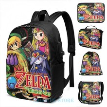 Grappige Grafische Print Legend Of Zelda-Minish Cap Usb Lading Rugzak Mannen Schooltassen Vrouwen Cosmetische Bag Travel Laptop tas(China)