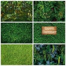 Laeacco Birthday Photo Backgrounds Green Grass Wall Tropical Plants Leaves Jungle Safari Photography Backdrops For Photo Studio
