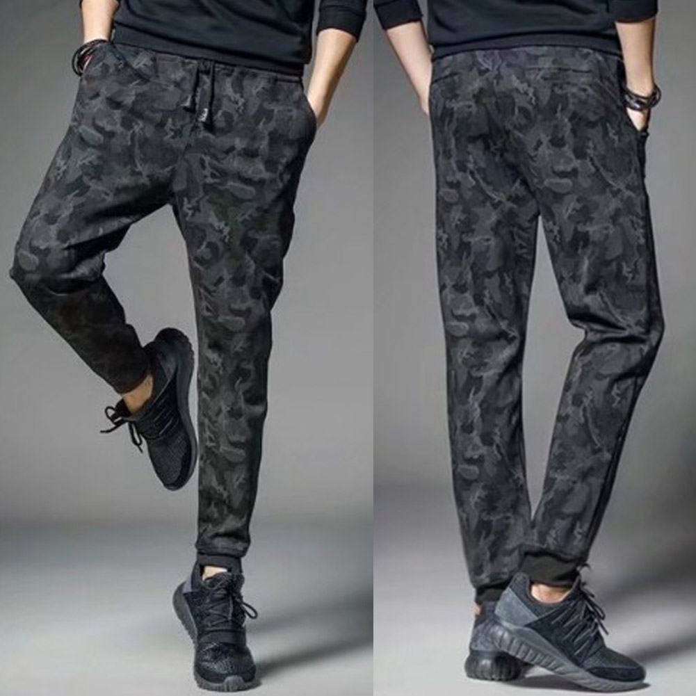 2020 Camouflage Casual Fitness Trousers Mens Winter Warm Drawstring Closure Joggers Camo Jogger Pants Gym Athletic Sweatpants