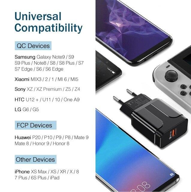 18W Ricarica Rapida 3.0 del Caricatore del USB di CONTROLLO di QUALITÀ 3.0 4.0 Connettore USB Del Telefono/Veloce Adattatore del Caricatore Per Samsung A50 iPhone Xr 11 8 7 Xiaomi Huawei 6