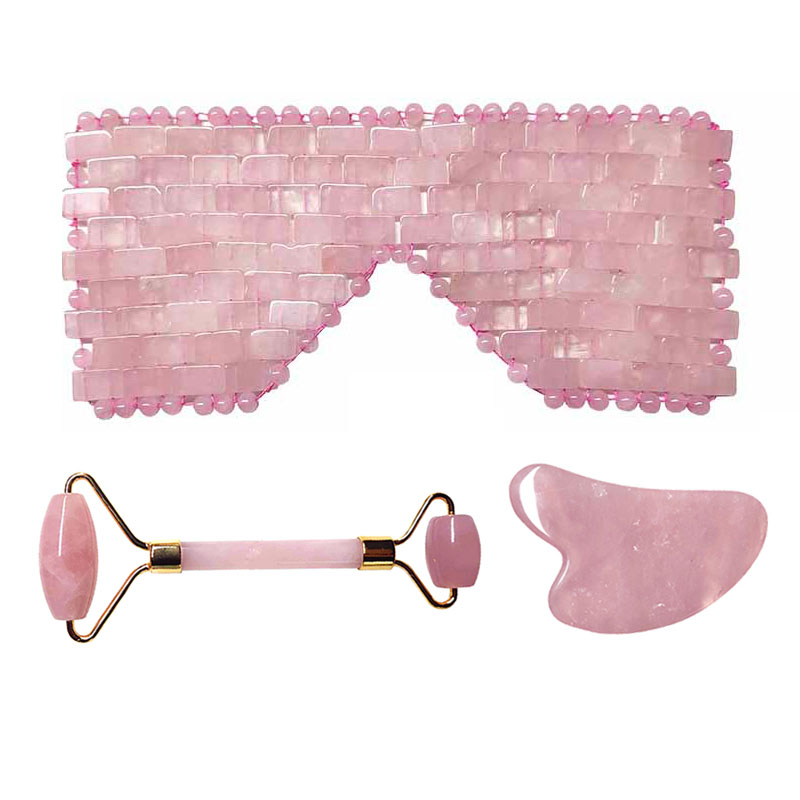 New Rose Quartz Jade Eye Mask Massager Jade Roller Guasha Board Set Natural Stone Scraper Face Lift Roller Facial Massage Tools