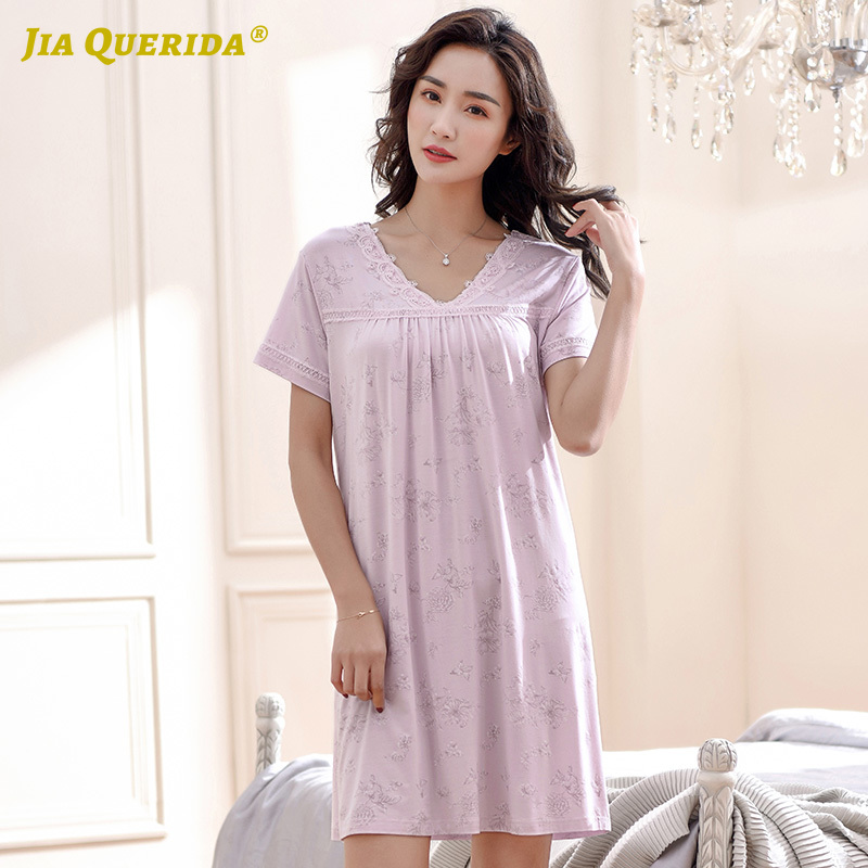V Neck New Sleeping Dress Short Sleeve Modal Nightgown Fashion Style Long Shirt Homedress Casual Style Nighty Nighties For Woman