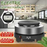 Electric Heater Stove 500W Fast Heating Kitchen Heating Plate Furnace Cooking Coffee Heater 5 Gears Adjustable US Plug Alloy