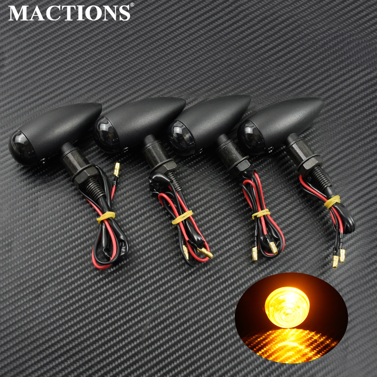 Motorcycle Bullet Turn Signals Indicators Blinker Lights Lamp Black For Harley Cruiser Chopper Cafe Racer For Honda For Kawasaki