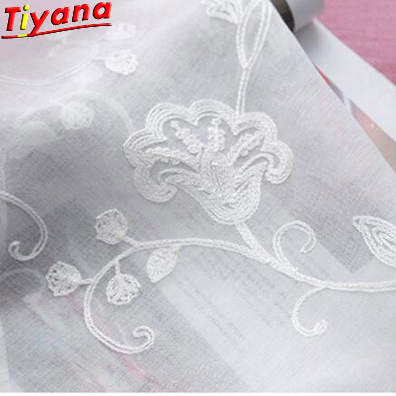 3D Embroidery Cotton Linen Fabric Pure White Tulle Curtain Sheer Curtain Curtain Tulle Curtain Eyelet Rod Pocket 3x2.6 WP144 *20