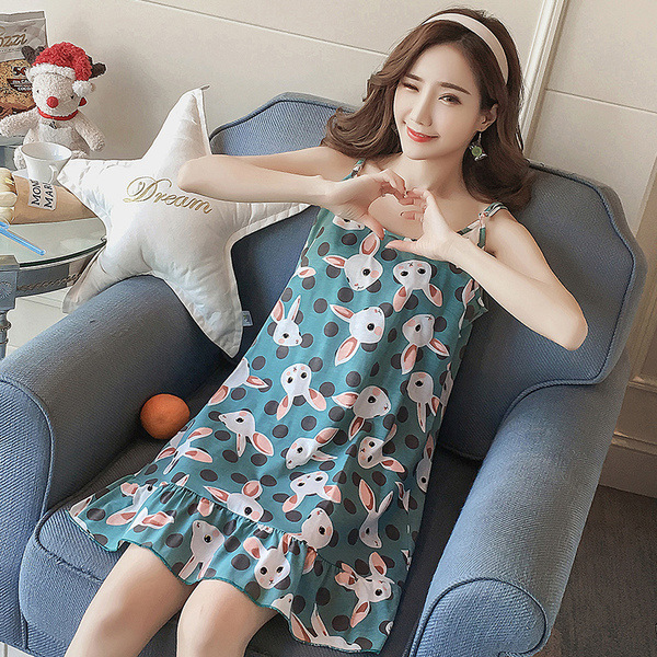 Women's Sleepwear Female Summer Strap Korean-style New Style Fresh-Style Thin Cute Plus-sized Sexy Nightgown Women's Summer-Oute