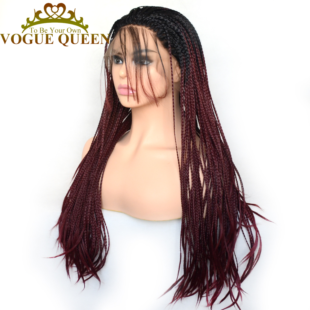 Vogue Queen Two Tone Ombre Burgundy Synthetic Braided Long Wigs Heat Resistant Fiber For Women