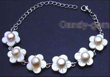 "DYY envío gratis >>>>> grande 14mm shell blanco fleuret y 7mm rosa perla ajustable 6-8,5 ""Bracelet-b254(China)"