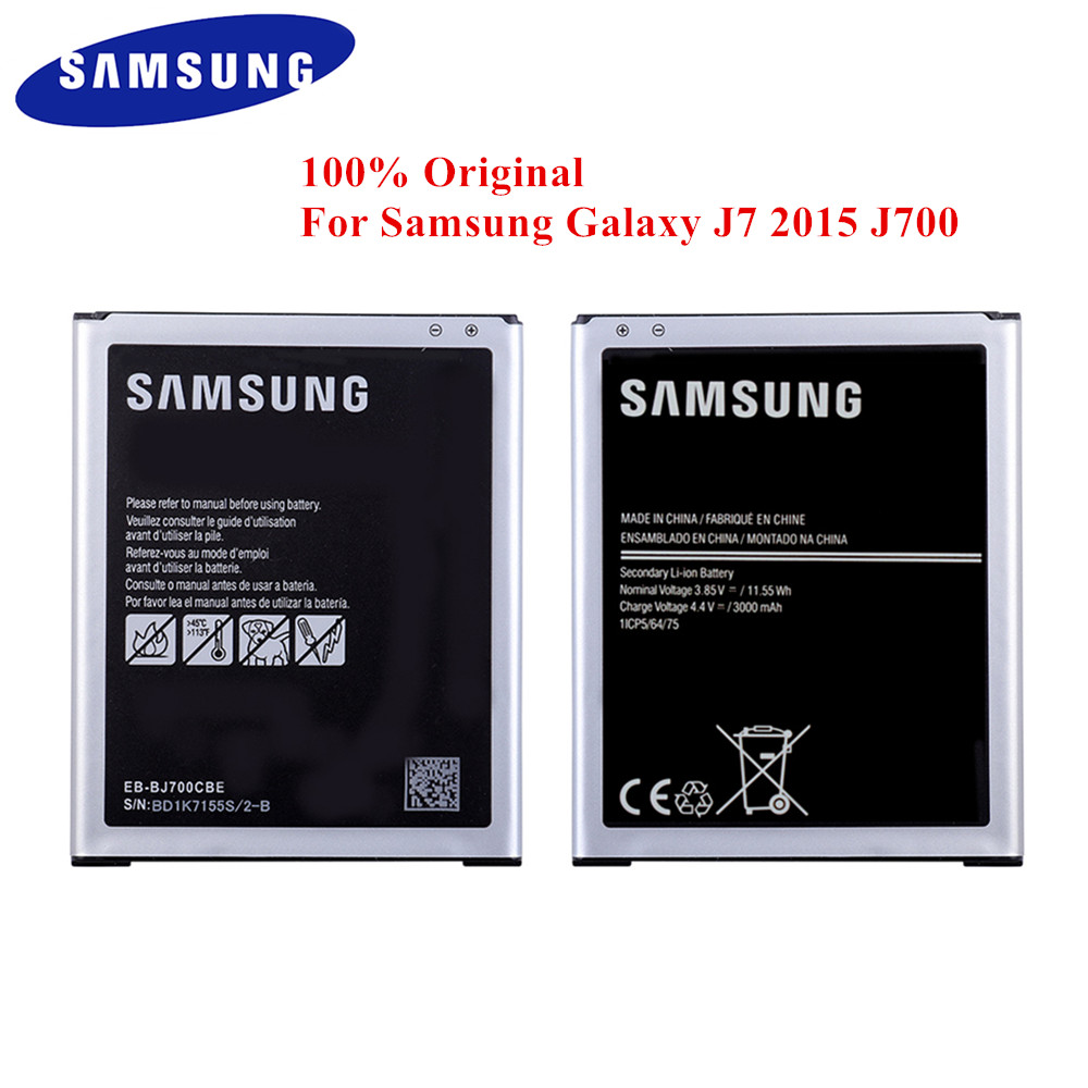 100% Original Battery EB-BJ700CBE for <font><b>Samsung</b></font> Galaxy J7 2015 J700 <font><b>SM</b></font>-J700F J700M J700M/DS <font><b>J700H</b></font> J700T J700P J7009 J7000 J7008 image