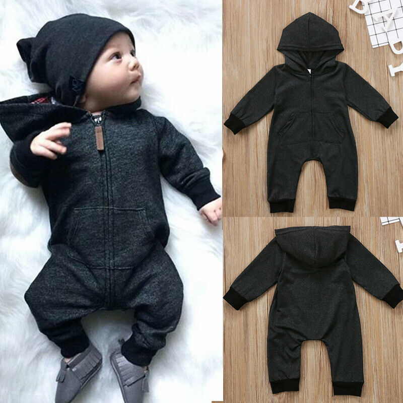 New 2019 Autumn Infant Newborn Baby Boys Girl Gray Cotton Hooded Romper Long Sleeve Zipper Solid Jumpsuit Clothes Outfits