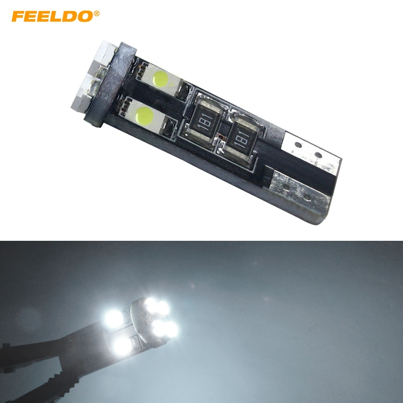 FEELDO <font><b>100pcs</b></font> Car DC12V~14.5V 6000~6500K White 8SMD 3528 <font><b>T10</b></font> Wedge Lens LED Light Bulb With <font><b>CANbus</b></font> Error free Light #HQ4244 image