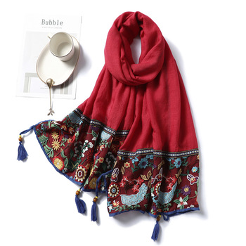 Lace Embroidery Cotton Scarf Women Floral Print Shawls and Wraps