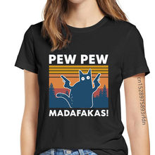 Camiseta divertida de gato Pew y Pew Madafakas para mujer, playera Retro de gato y gángster con pistola, Tops de Humor para mujer de los años 90, envío directo